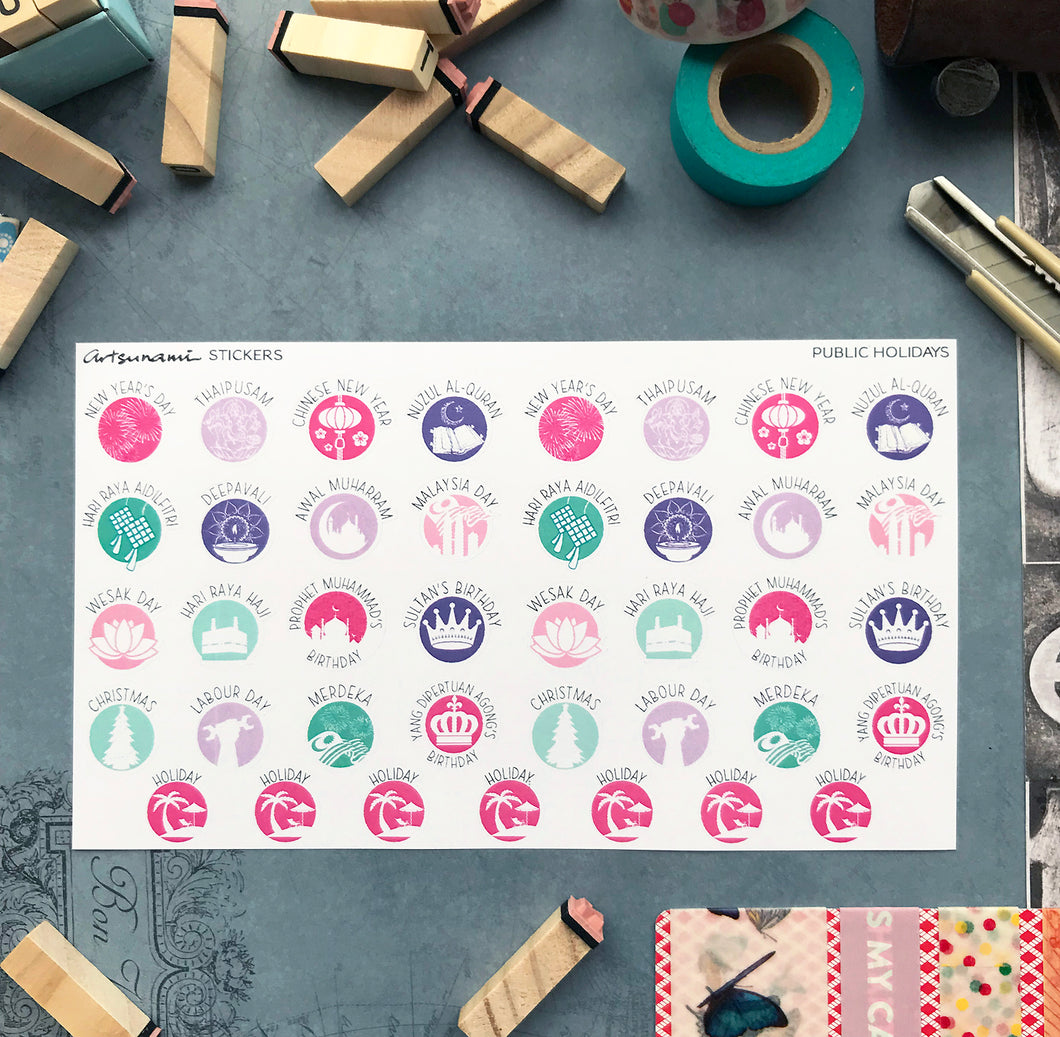 Planner Stickers - Public Holidays