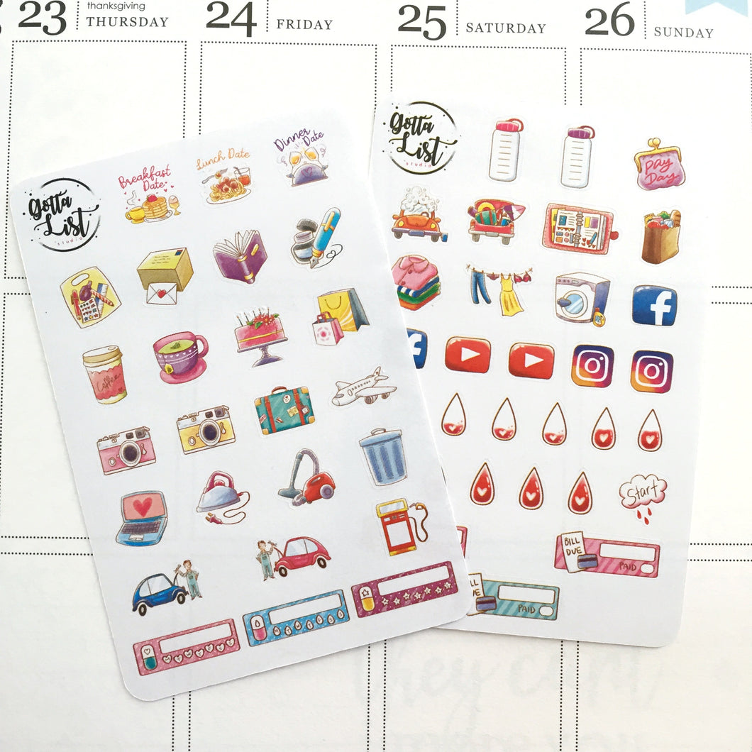 Icon Sampler Sheet Vol.1 Planner Sticker