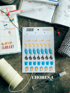House Chores Matte Transparent Stickers
