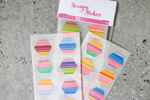 Striped Hexagon Stickers by AlltheNs