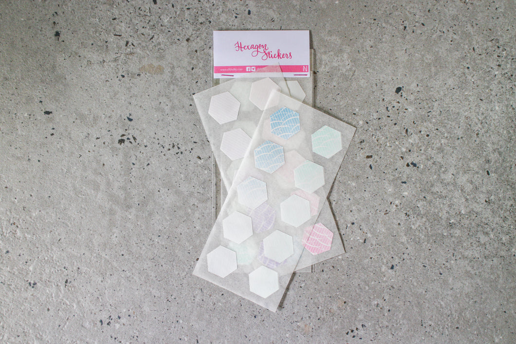 Modern Japanese Pastel & Ombré Print Hexagon Stickers by AlltheNs