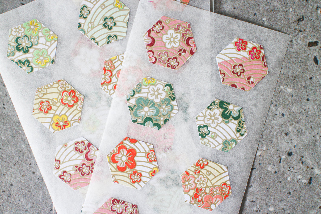 Modern Japanese Print Hexagon Stickers by AlltheNs