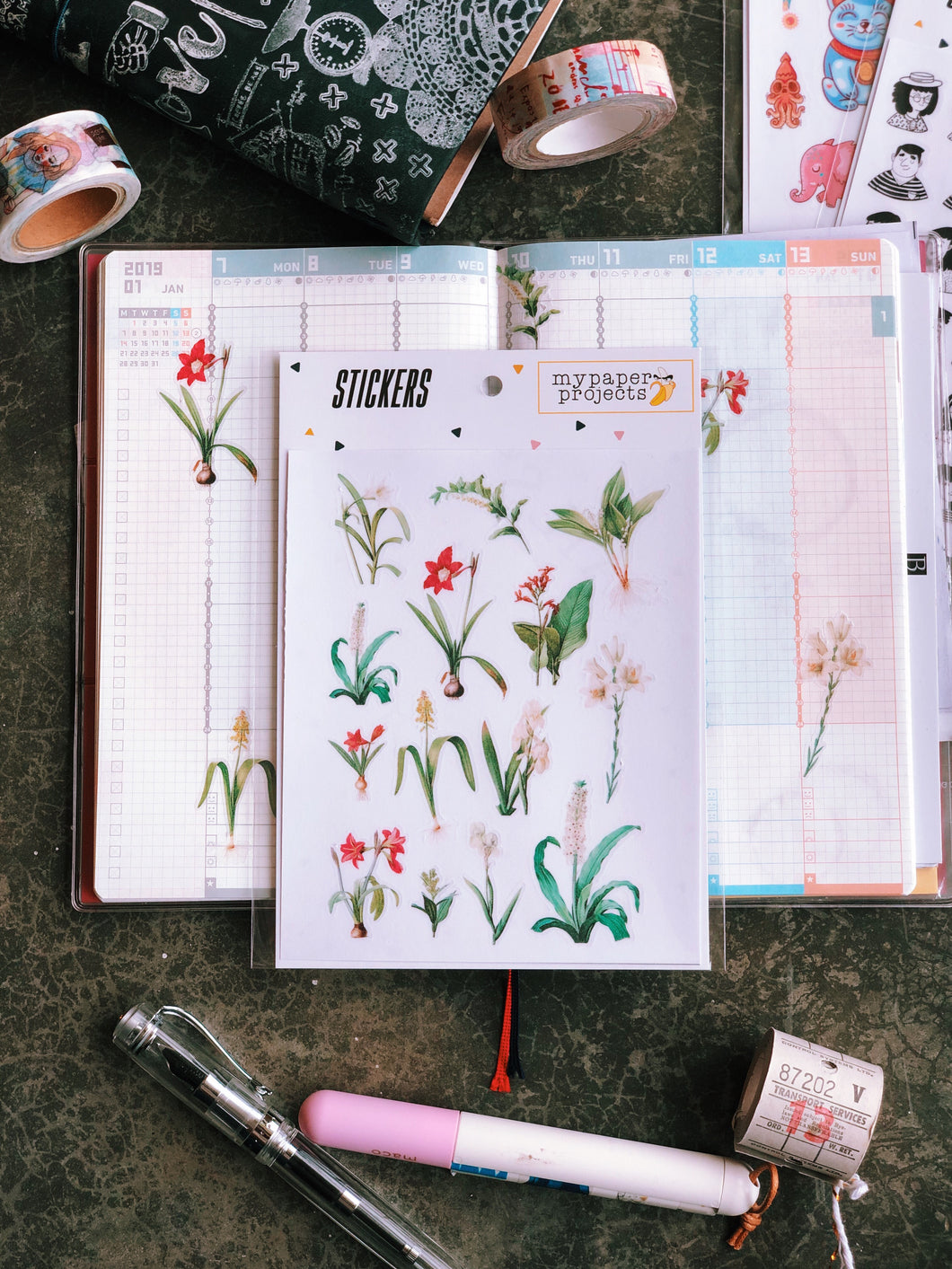 Orchids & Lilies Matte Transparent Stickers
