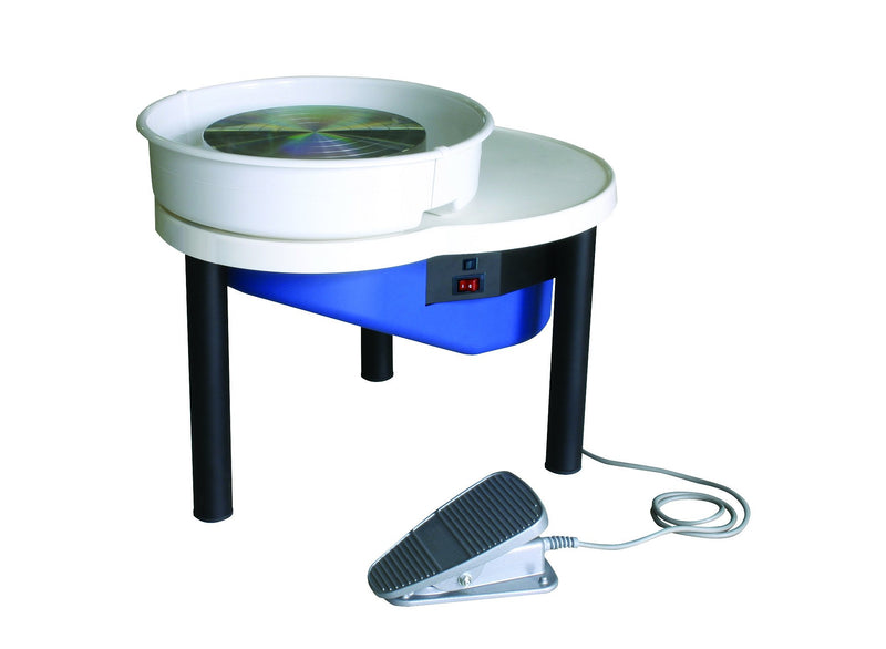 Designed with the potter in mind, Shimpo RK-55 is a belt-driven lightweight wheel. The wheel has a remote pedal, two-piece splash pan, workspace, 100-watt reversible motor, an automatic belt-tensioning system.