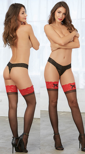 Stay Up Thigh High Stockings in Black Red