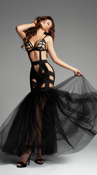 Fantasy Mermaid Dress With Tulle Tail in Black