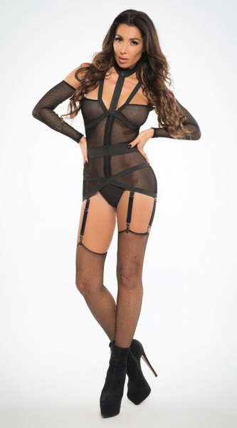See Through Me Corselette in Black