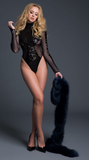 Glamorous Sequins and Sheer Bodysuit in Black
