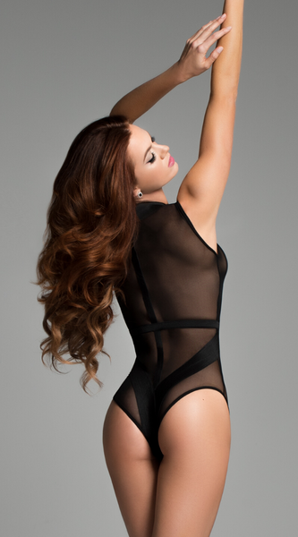 Sheer and Sleeveless Bodysuit in Black