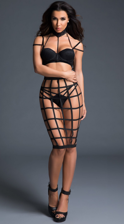3Pc Luscious Bra Set with Cage Skirt in Black