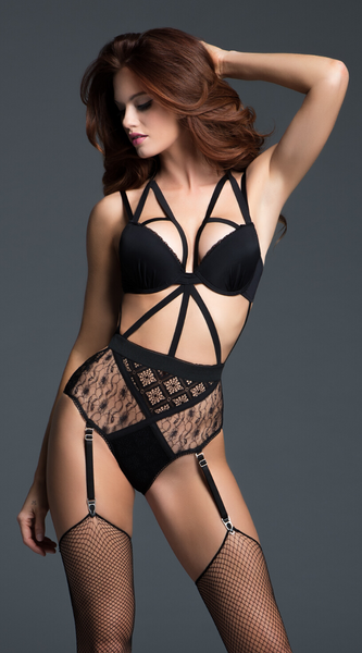 Provocative Angel Lace Teddy in Black