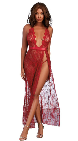 High Slit Lace Gown in Wine