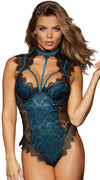 Stretch Satin Teddy in Black Teal