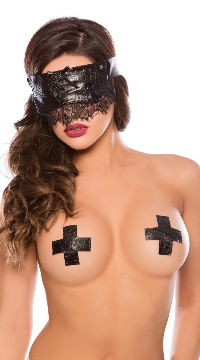 Croc and Eyelash lace Mask in Black
