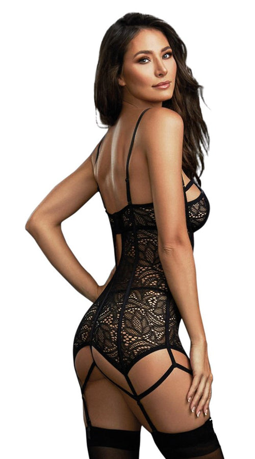 Eye Candy Garter Slip in Black