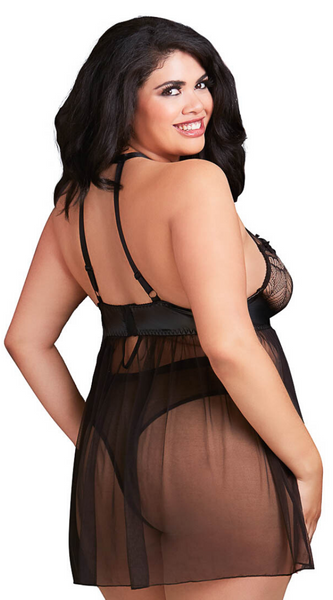 Flyaway Sheer 2pc Babydoll Set in Black