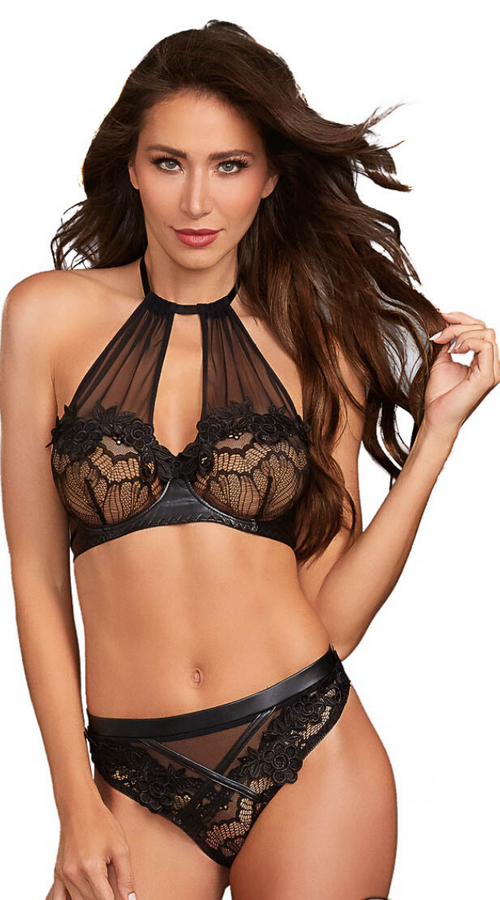 Flyaway Sheer 2pc Bra Set in Black