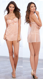 Moet Embroidered Babydoll Set in Pink