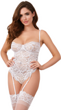 Bridal Floral Lace Teddy in White