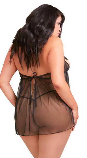 Delicate Venice Babydoll Set in Black