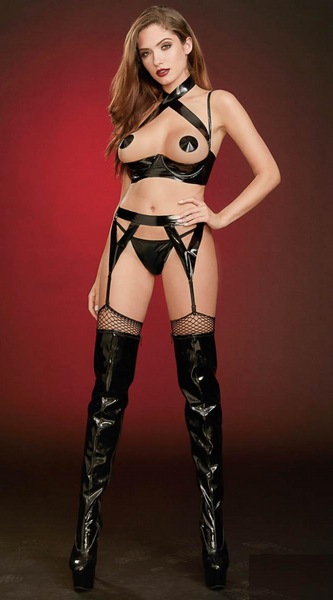 4PC Vinyl Fetish Set in Black