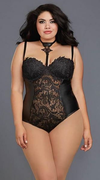 Venice Lace Intricate Teddy in Black