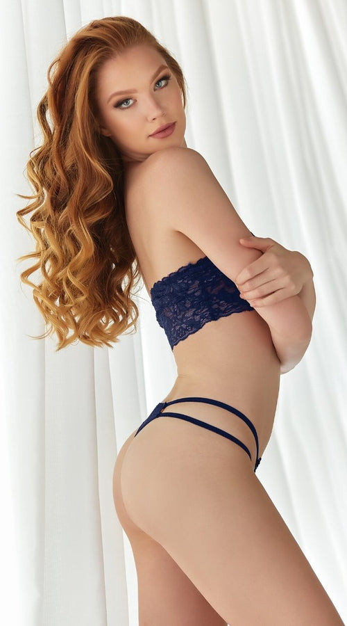 2PC Bandeau Lace Set in Navy
