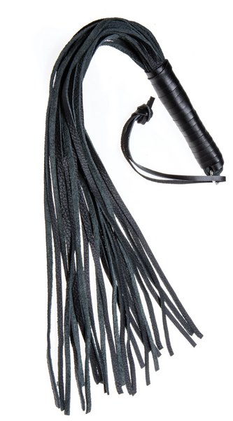 Leather Whip with Handle in Black