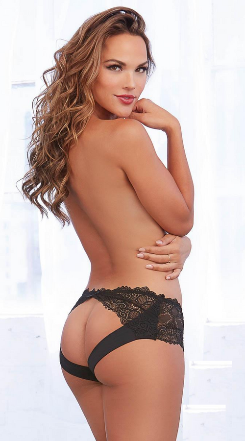 Open Back Lace Panty in Black