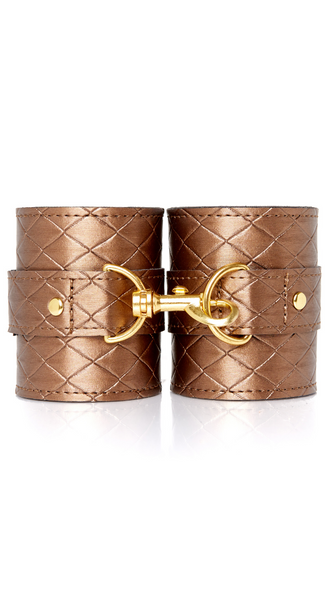 X-Play Wide Wrist Cuffs in Bronze