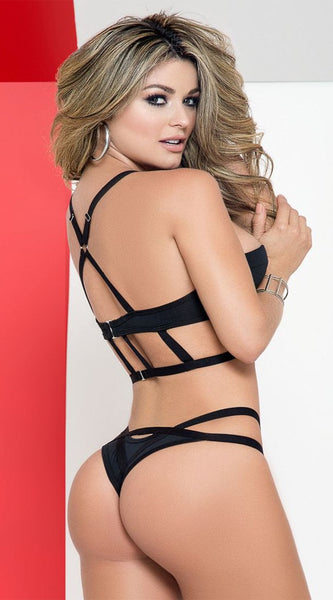 Intoxicating 2PC Cage Bra Set in Black