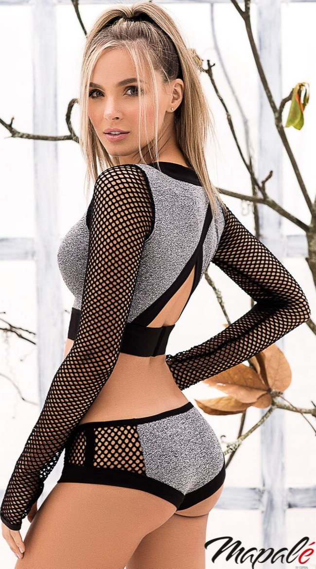 Fishnet 2PC Sporty Set in Grey Black
