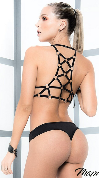 Strappy Ring Bra Set in Black