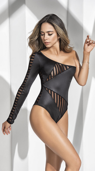Asymmetric Striped Teddy in Black