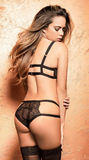 Fishnet Cups Bra Set in Black
