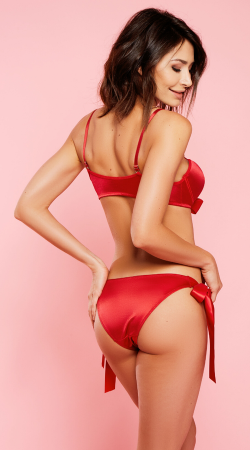 Xmas Satin Bra Set in Red