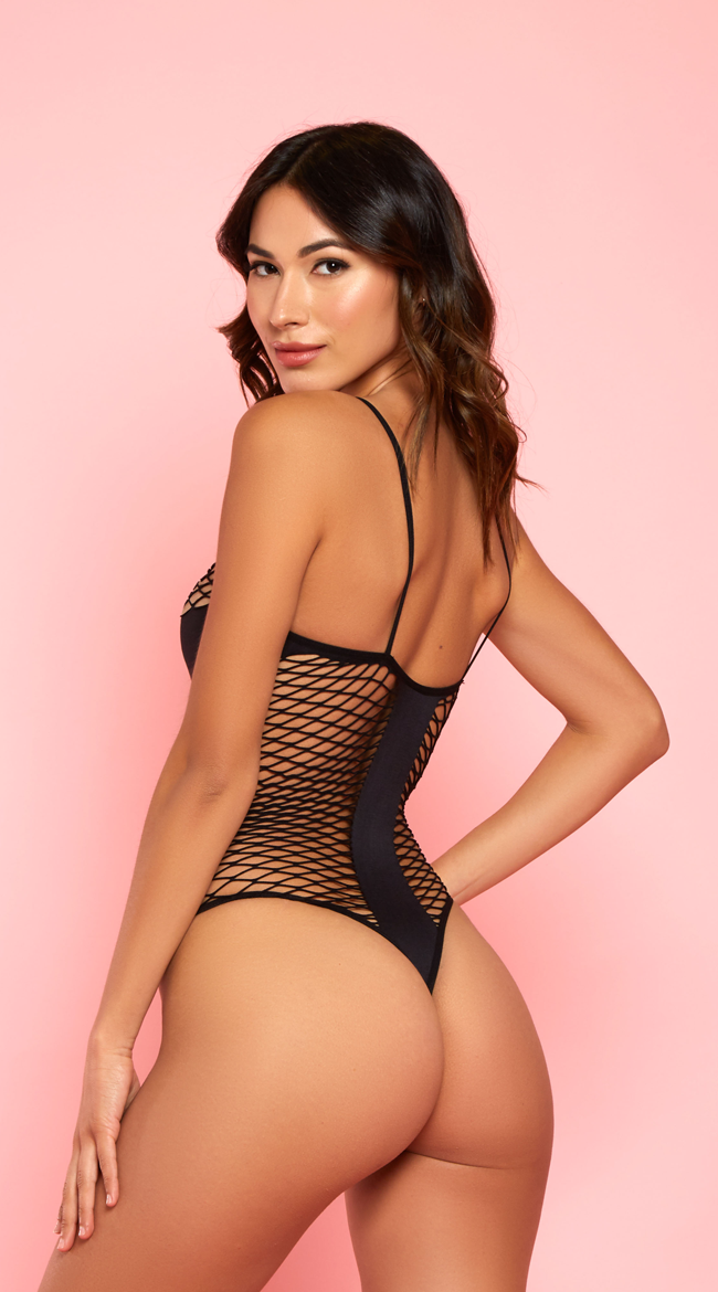 Alluring T-Panel Black Bodysuit