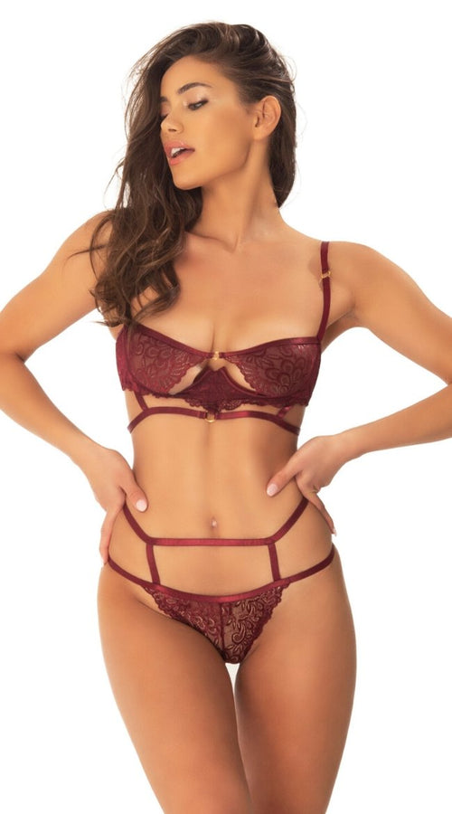 Violetta Bra Set in Burgundi
