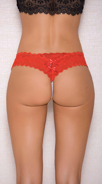 Lace Open Crotch Pearl String in Red