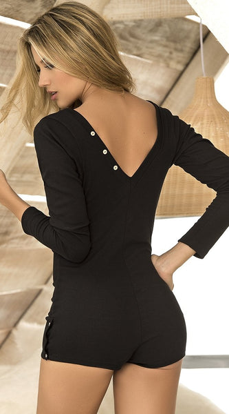 V-neck Sleep Romper in Black