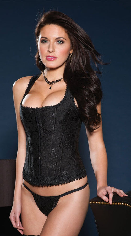 Brocade Racerback Corset Set in Black
