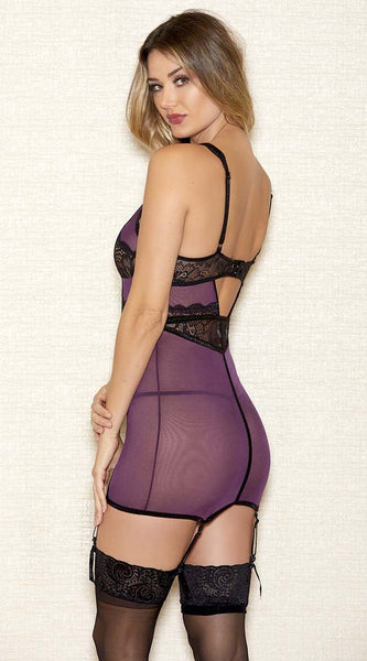 Alluring Lace Chemise in Purple Black
