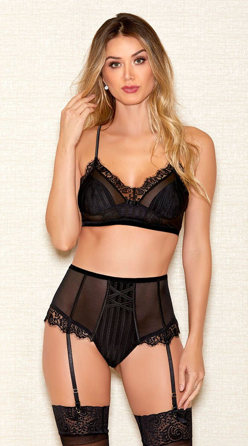 2pc Stripe Bra Set in Black