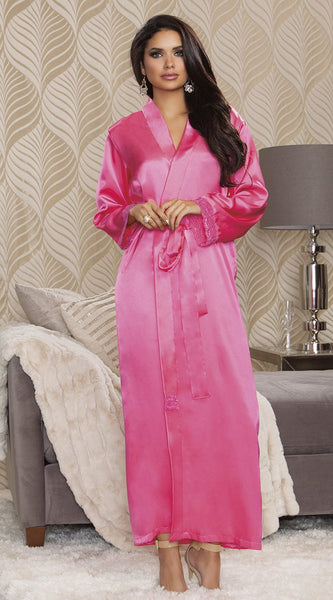 Satin Long Robe in Fuchsia