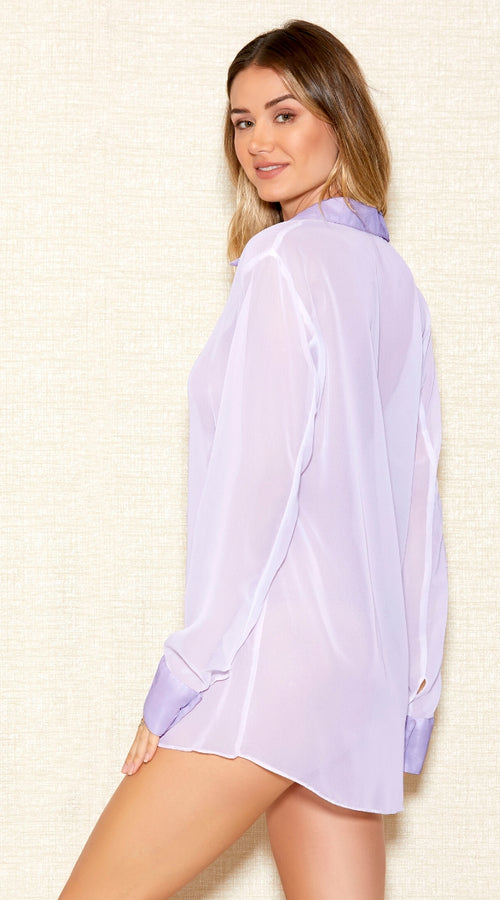 Chiffon Sleep Shirt in Lilac