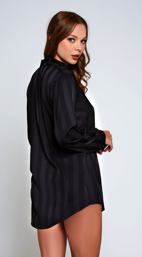 Delphine Satin Nightshirt in Black