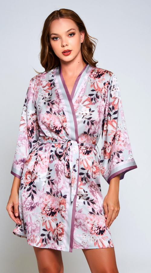 Floral Leanne Robe in Mauve