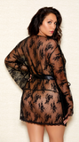 Lace Applique Robe in Black
