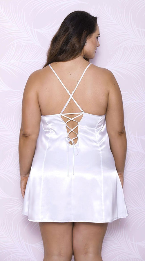 Satin Chemise with Tie Back in white