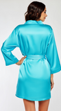 Classic Satin Robe in Aqua